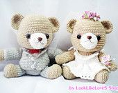Hand crocheted Teddy Bear Wedding dolls and  Bride and groom names.
