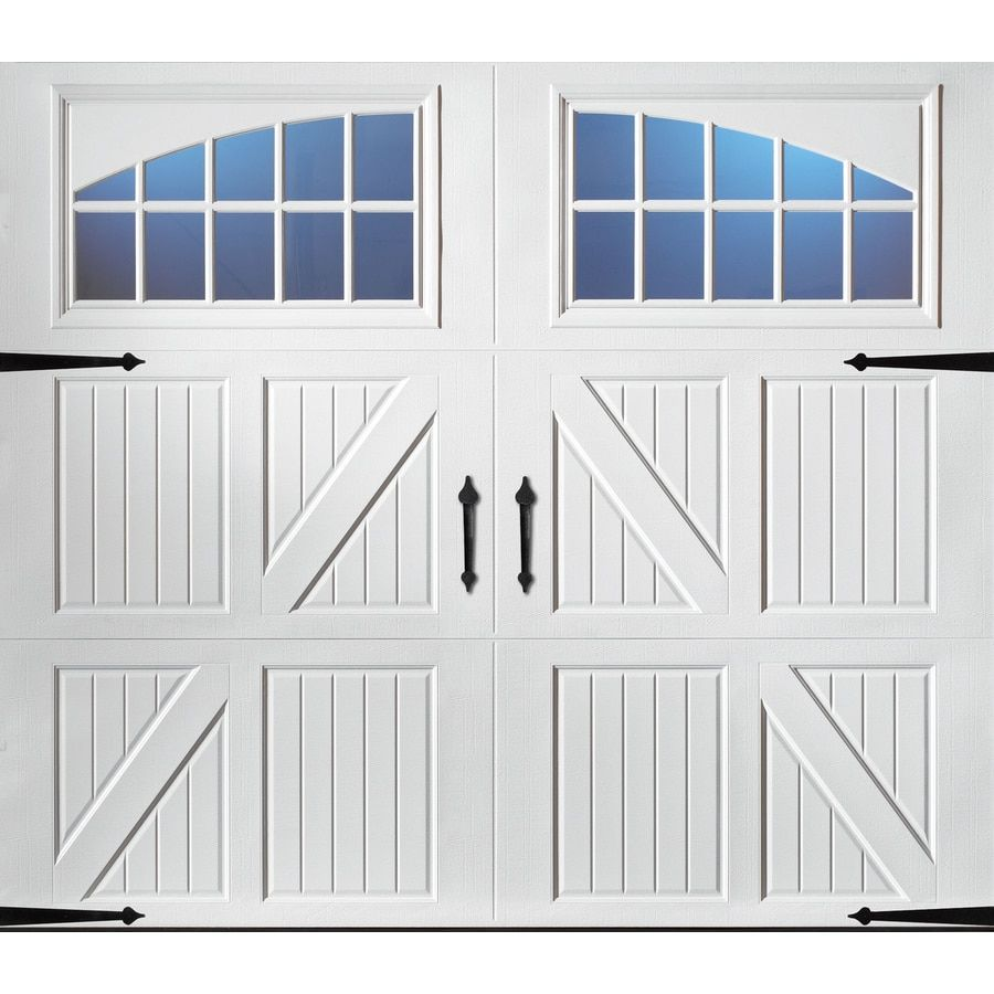 Pella Carriage House 96 In X 84 In White Single Garage Door With Windows Lowes Com In 2020 Single Garage Door Carriage House Doors Garage Doors
