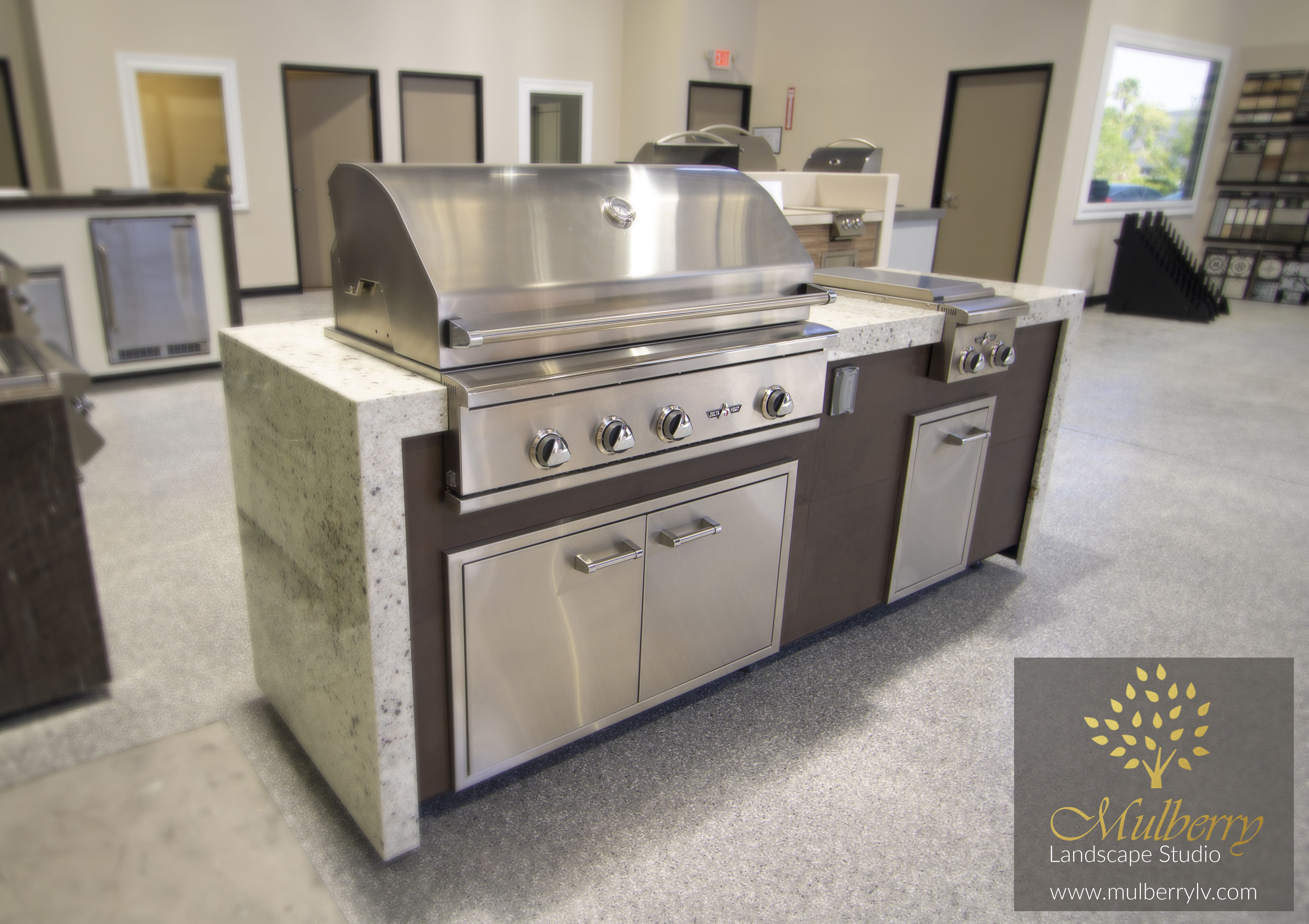 Delta Heat Grill Double Waterfall Countertop Mulberry Landscape