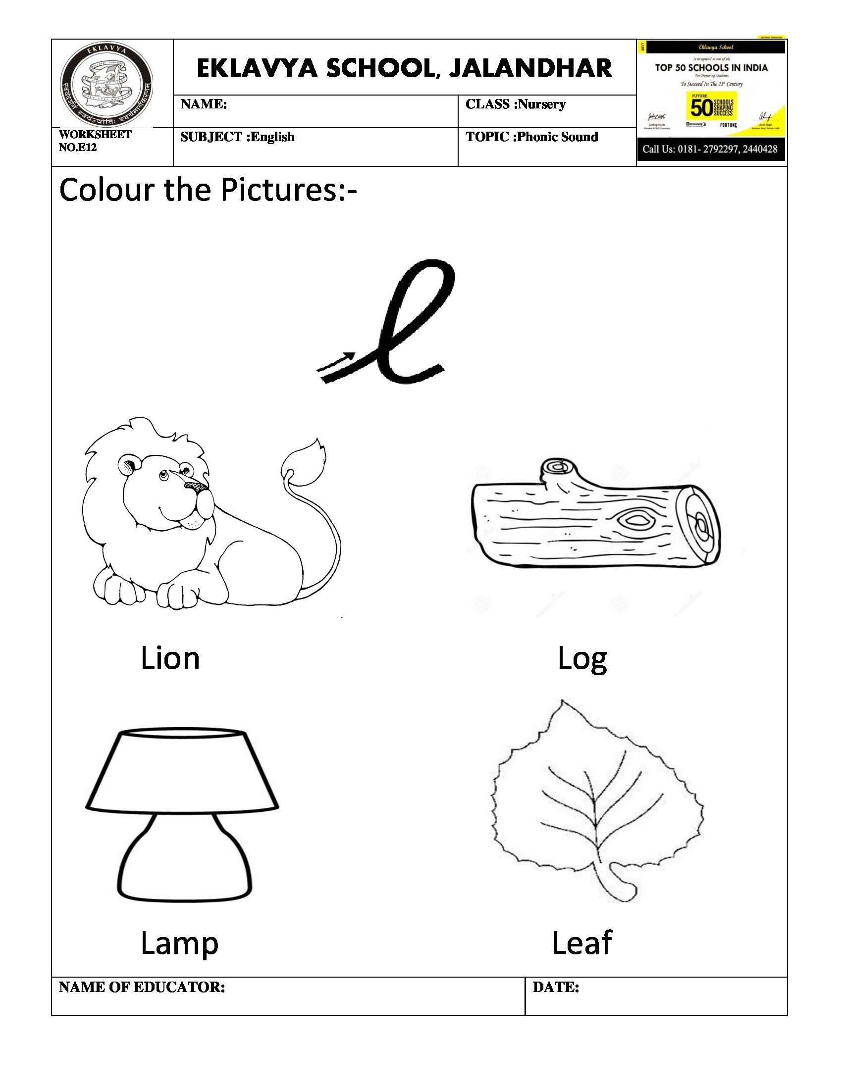Worksheet on phonic sound \' l \' | Pre- Primary Worksheets | Pinterest