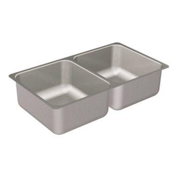Moen G20210 2000 Series 20 Gauge Double Bowl Undermount Kitchen Sink - Stainless Steel