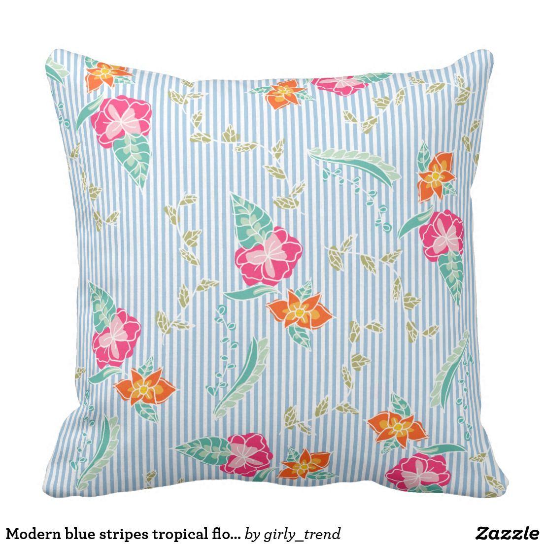 Modern blue stripes tropical floral pattern