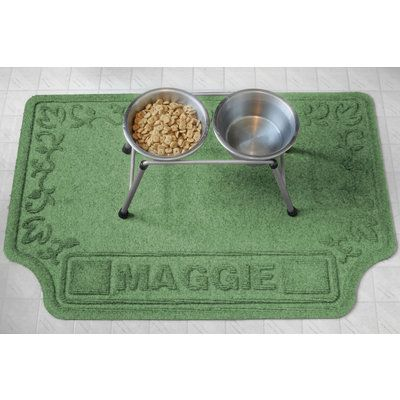 Personalized Scroll Dog Dish Placemat  - $48 at www.dogids.com. Get your dog's name personalized on the mat!