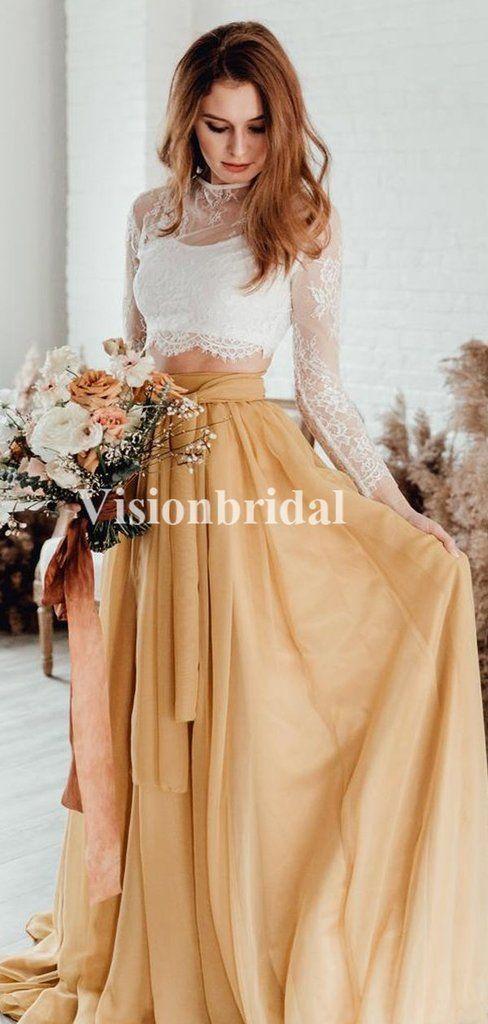 Elegante Illusion Langarm Lace Top zwei Stücke Brautkleider, billige Brautkleider, VB02820