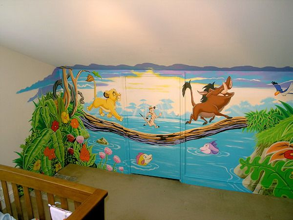 Kids lion king bedroom murals the famous disney character for Character mural