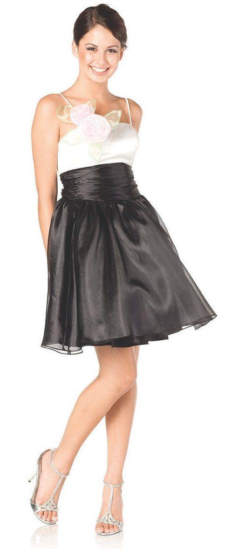 3e97379199 Poofy Ivory Black Organza Prom Dress Short Spaghetti Strap Ruched Empire   84.99