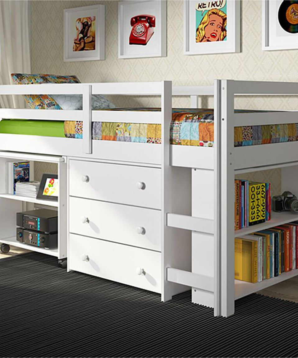 Low loft bed twin  Loving this White Low Study Loft Twin Bed on zulily zulilyfinds
