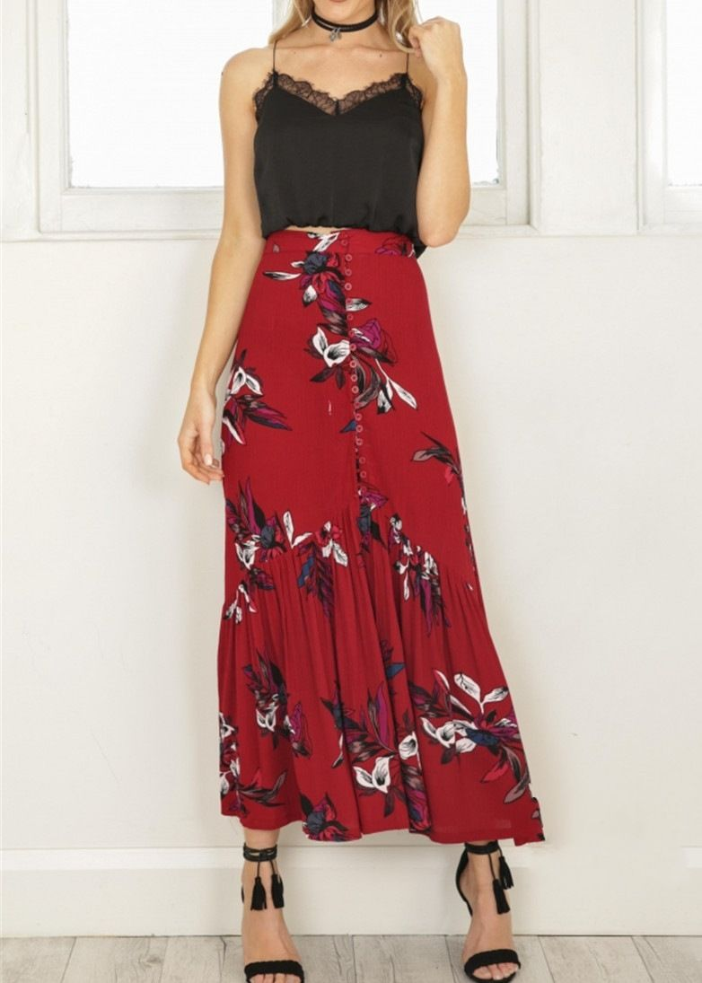 Fashion design bohemian floral long maxi skirt red in skirts