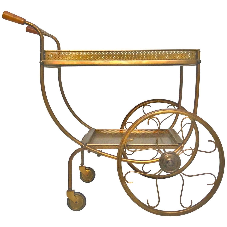 mid century brass tea trolley by svenskt tenn sweden 1950s from a