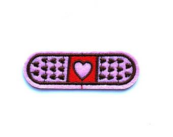 2 8 80s 90s Emoji Cartoon Pink Heart Band Aid Sew On Iron On Patch Embroidered Applique Motif Heart Band Pink Heart Handmade Patch