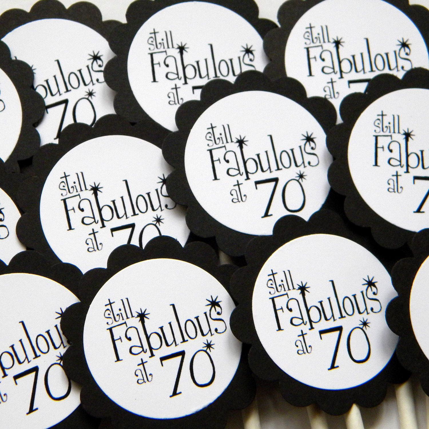 70th Birthday Cupcake Toppers Still Fabulous at 70 Black and