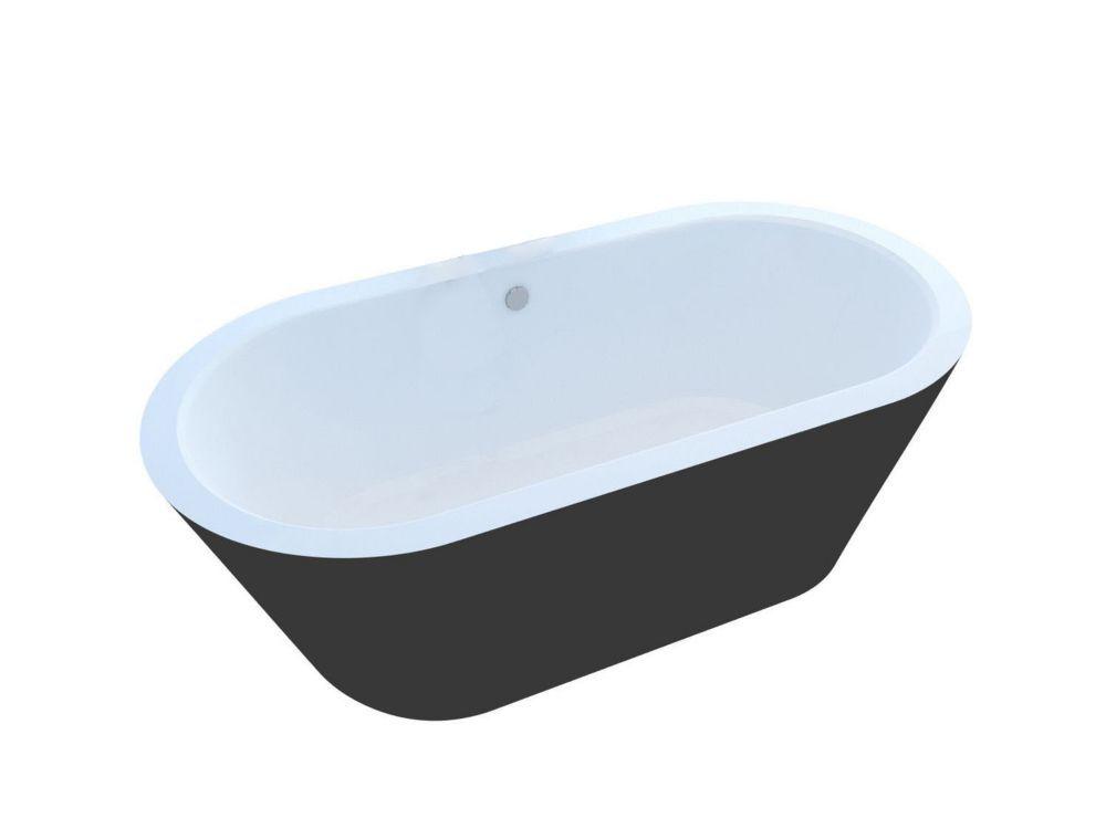 Obsidian 5 Feet 10 Inch Acrylic Oval Freestanding Non Whirlpool