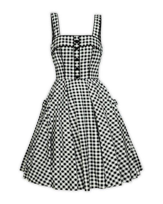 Black White Gingham Dress Checkered Dress Summer Dress Vintage Dress Retro Dress Rockabilly Dress 50 In 2020 Checkered Dress Vintage Dresses Vintage Summer Dresses