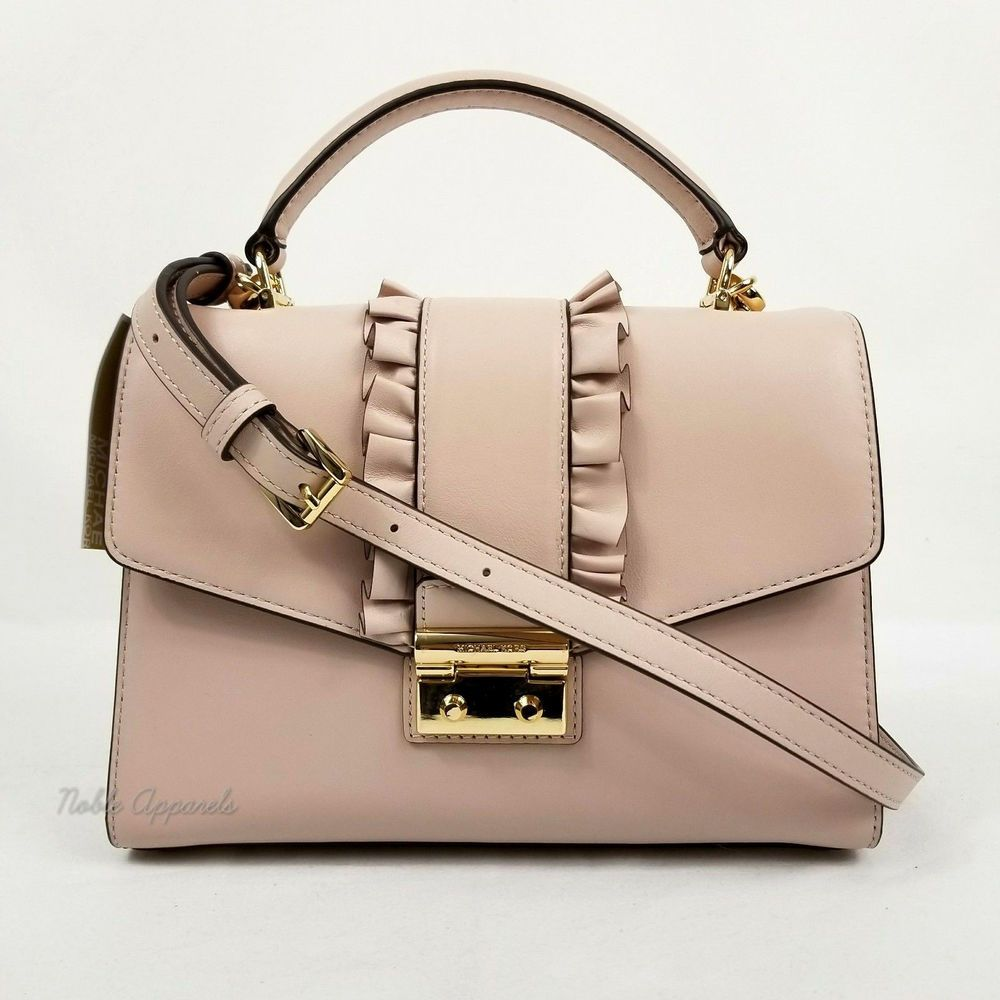 96a301832f205b Michael Kors Sloan Ruffle Top Handle Medium Satchel Leather Crossbody Soft  Pink 191935075925 | eBay