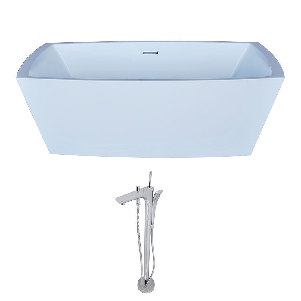Anzzi Arthur 5.6-foot Acrylic Classic Freestanding Soaker Bathtub in ...