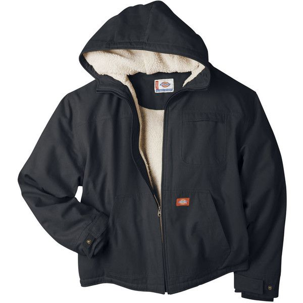 dickies men s sanded duck sherpa hooded jacket black on men s insulated coveralls with hood id=55139