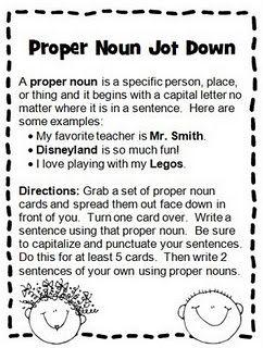 Proper Noun Jot Down: Great activity for a Literacy Work Station ...