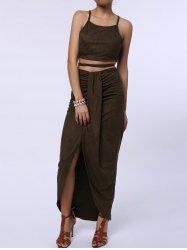 c83f05343b Sexy Spaghetti Strap Tank Top + High-Waisted Asymmetrical Skirt Twinset For  Women - OLIVE GREEN ONE SIZE(FIT SIZE XS TO M) Mobile