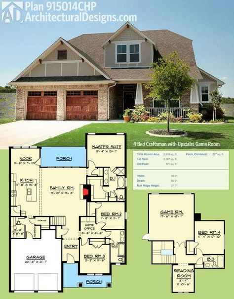 Plan 915014CHP 4 Bed Craftsman with Upstairs Game Room dream