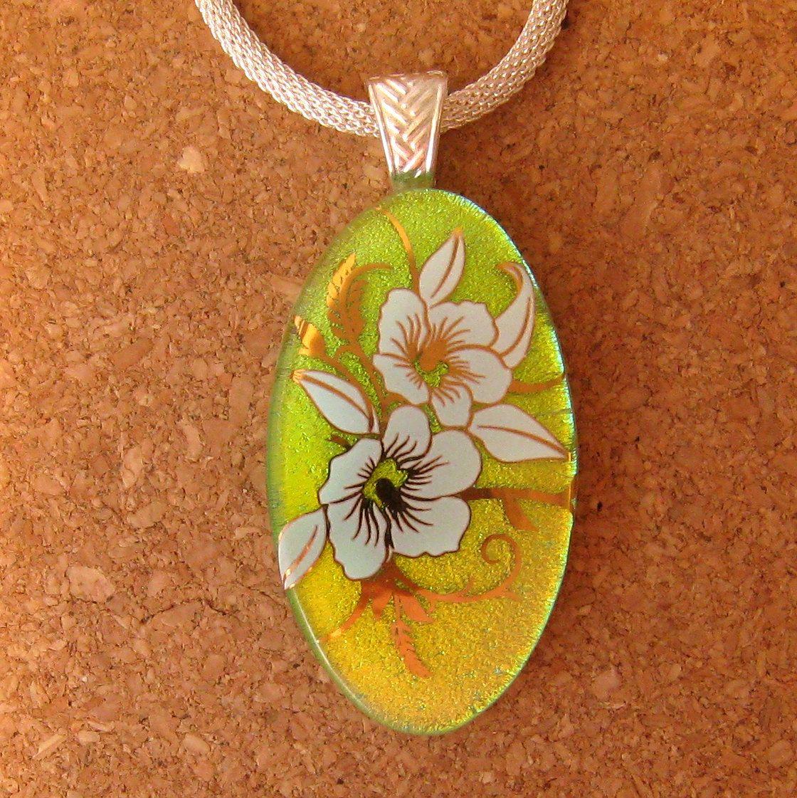 Dichroic Glass Pendant - Fused Glass Pendant - Decal Pendant - Flower Pendant - Dichroic Jewelry by GlassMystique on Etsy