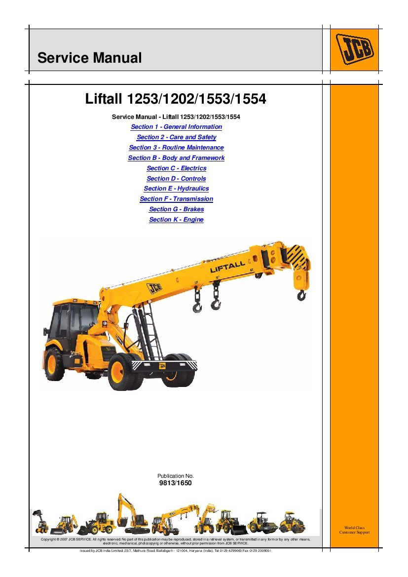 Jcb 1253 1202 1553 1554 Liftall Workshop Repair Service