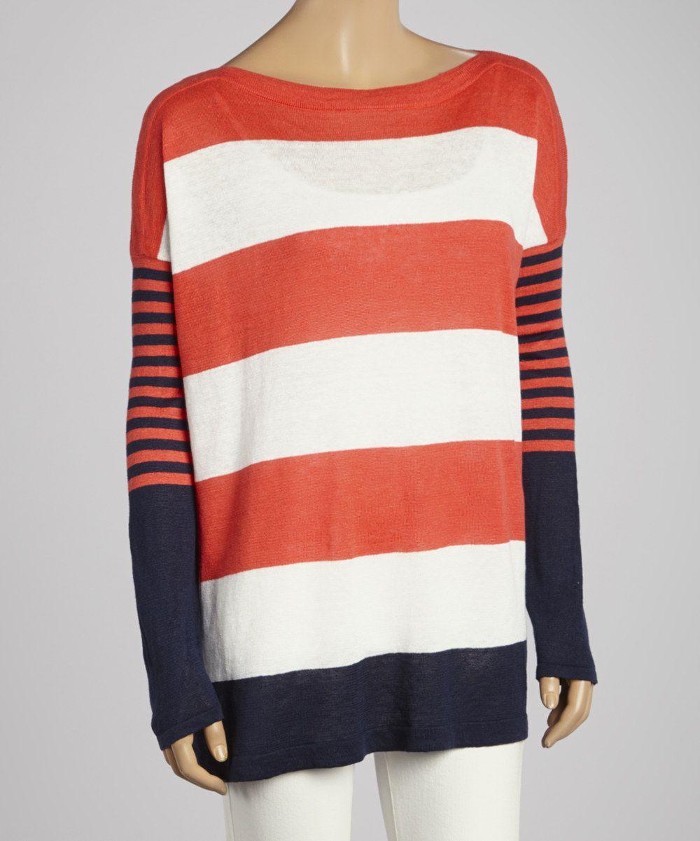 Look at this Lauren Hansen Coral & Navy Stripe Linen Dolman ...
