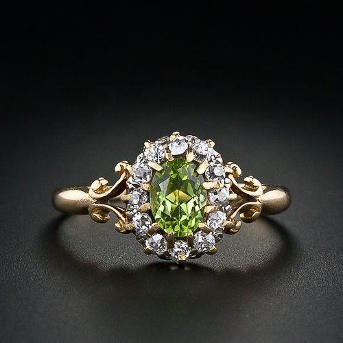 Antique Peridot And Diamond Ring C 1895 Vintage Jewelry Antique Jewelry Peridot Jewelry