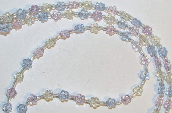 Blue Pink & Yellow Flower Beaded Eyeglass Chain Office by nonie615, $11.00