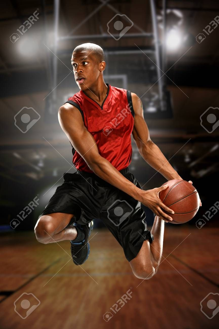 Young Basketball Player Jumping Inside A Court Ad Basketball Young Player Court Jumping Basketball Players Social Media Graphics Young