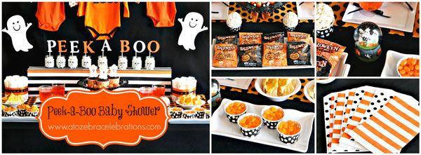Orange And Black Halloween Baby Shower Theme Snacks That