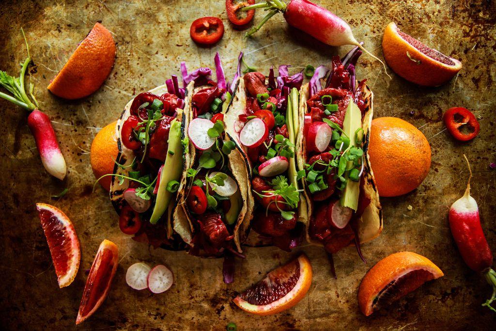 Blood orange honey ginger glazed pork tacos recipe