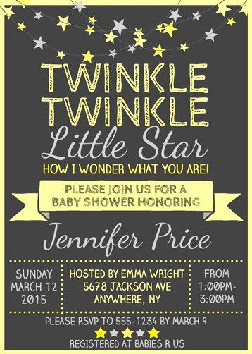 twinkle twinkle little star baby shower invitation wording