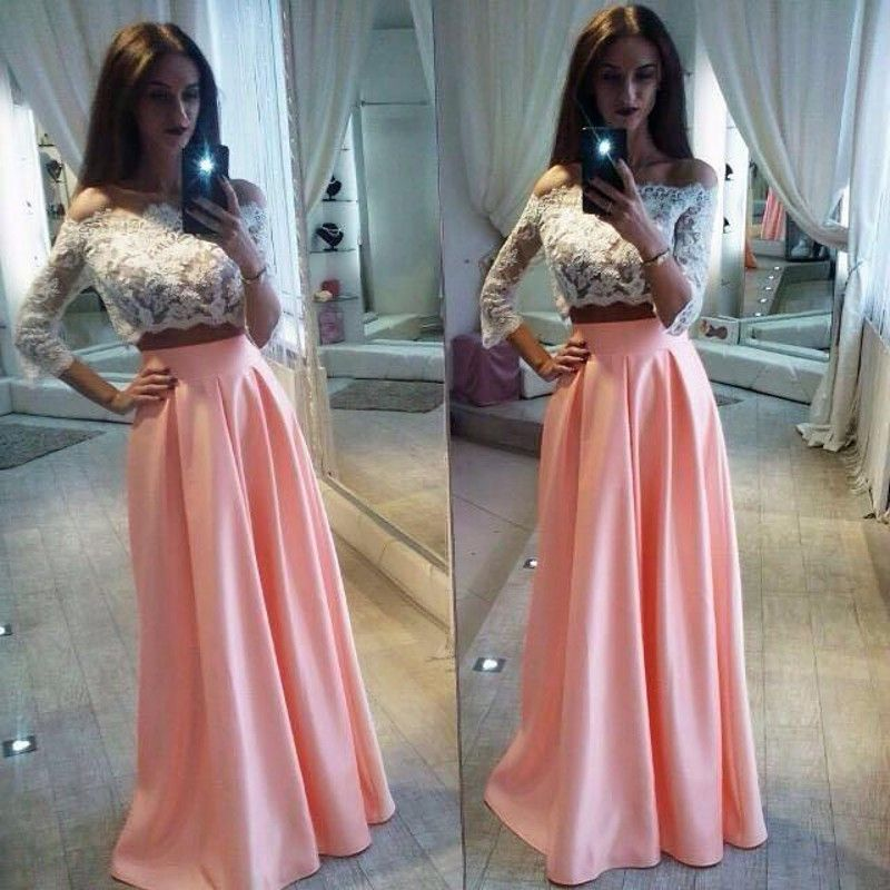 Two Pieces White Lace Top Long Sleeve Pink Satin Long A-line Prom ...
