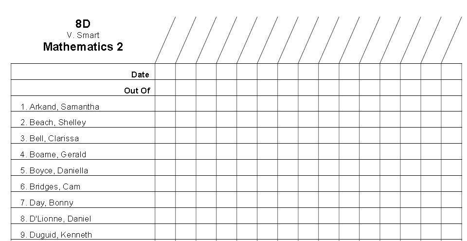 Class List Roster Template Class List Class Roster Attendance