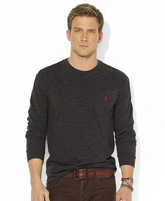 Mens Long Sleeve Crew Neck T-Shirt Pocket Classic Fit