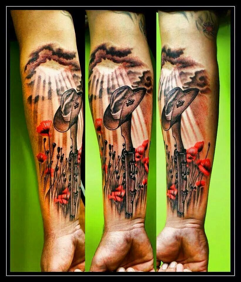 Tats pinterest gun tattoos skulls and tattoos and body art - Aussie Tattoo Idea Lest We Forget Australian Army Design Can Easily Be Converted To