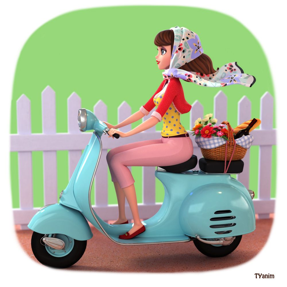 Cute Girl On A Scooter Illo By Yinxuan Dezarmenien Tyanim