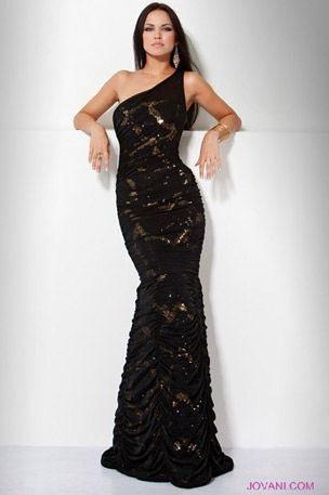9bb839344e Jovani Evening One Shoulder Black Net Overlay with Gold Sequence Dress  8971