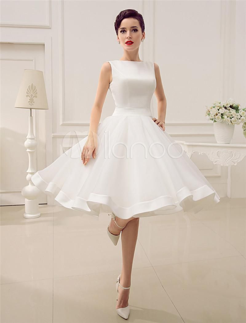 short wedding dresses vintage bateau neckline deep v back