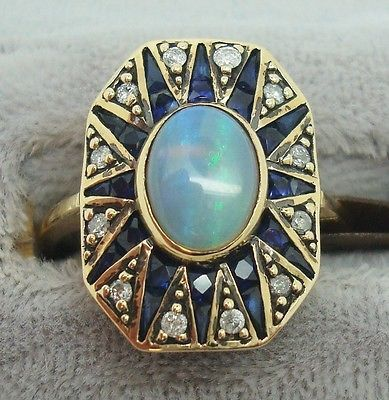 9K GOLD VICTORIAN STYLE GENUINE NATURAL OPAL RING WITH SAPPHIRES AND DIAMONDS