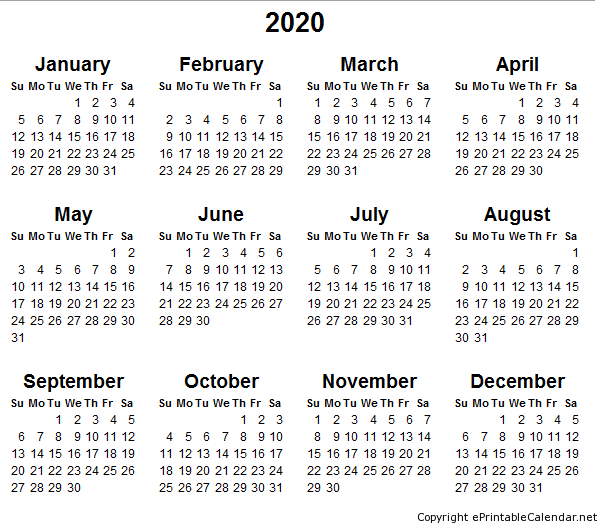 2015 2020 Calendar Printable Calendar Printables Printable Yearly Calendar Free Printable Calendar