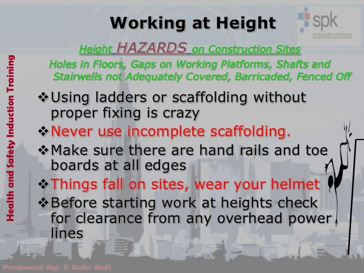 Working At Height Height Hazards On Construction Siteshealth And