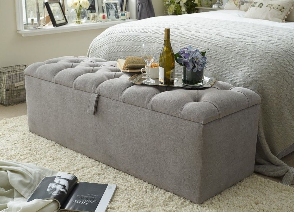 Chenille Chesterfield Ottoman Storage