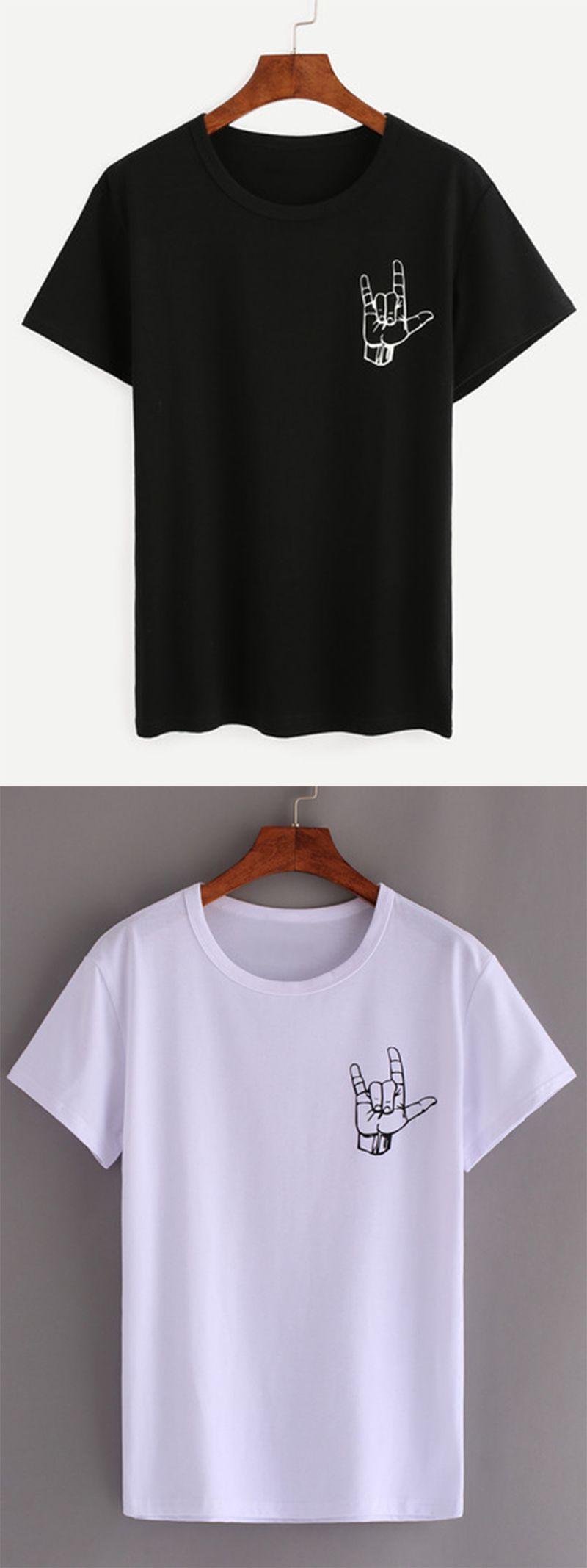 Black Love Gesture Print T-shirt … | Pinteres…
