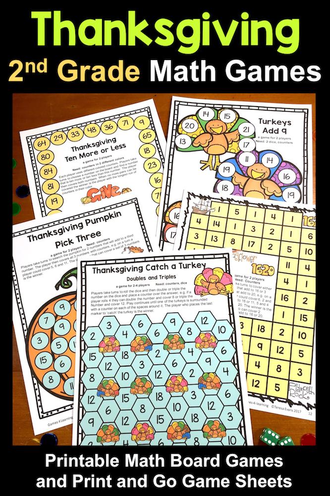 Thanksgiving Math Games Second Grade: Fun Thanksgiving Activities ...