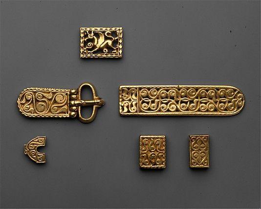 Gold belt fittings, Avar culture (modern day Albania). 8th century CE.