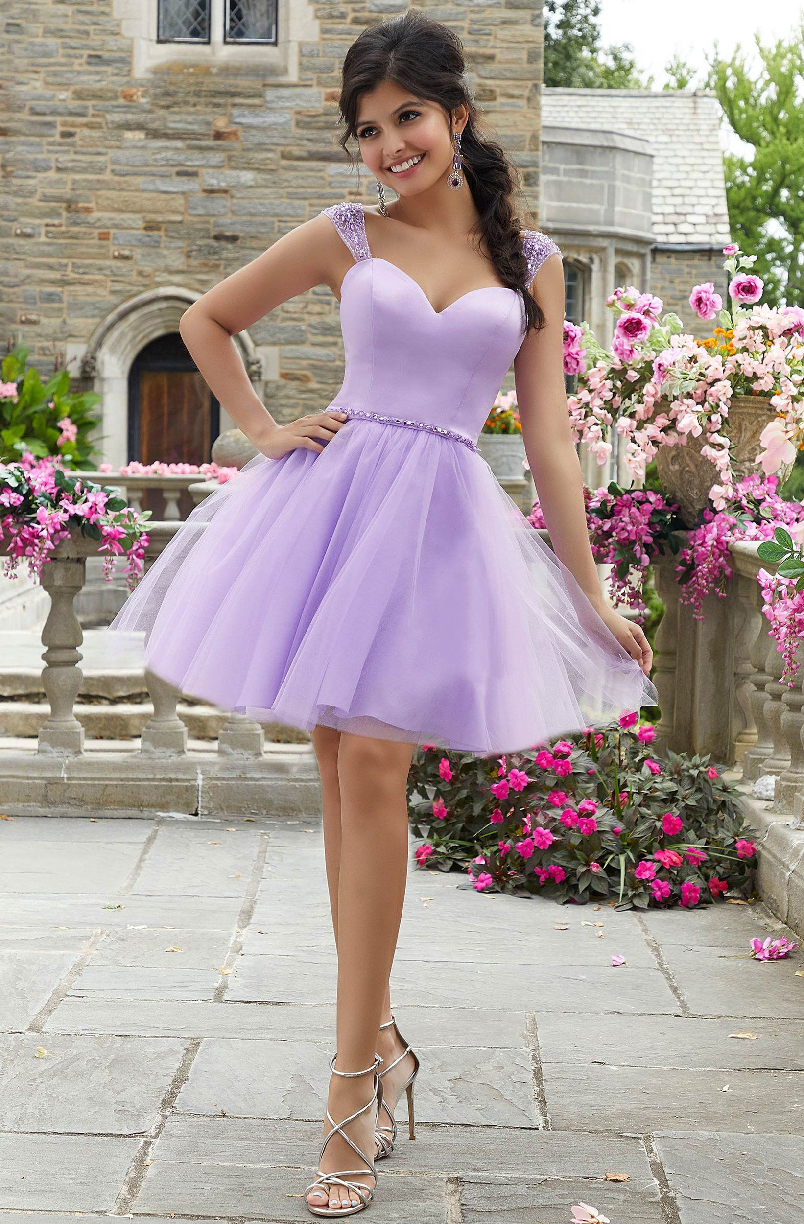 Mori Lee 9541 Beaded Satin And Tulle Sweetheart Neck Party Dress In 2021 Quince Dresses Purple Short Dress Quinceanera Dama Dresses [ 2500 x 1642 Pixel ]
