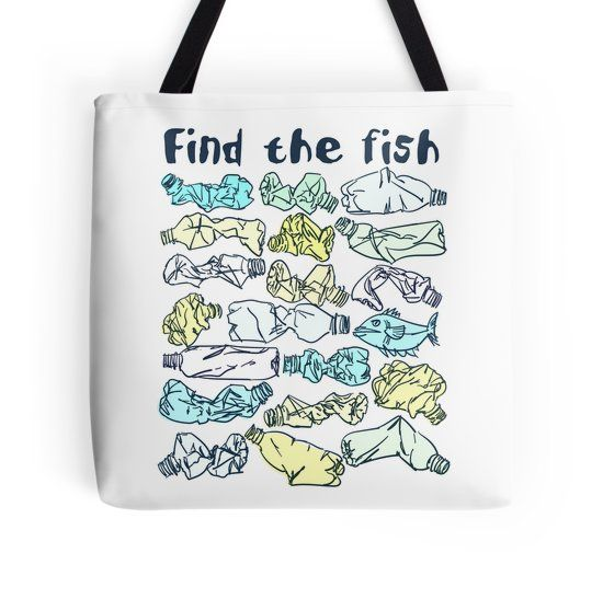 Trendy Environmental Tote Bag Design With Slogan Find The Fish And Save Ocean From Plastic Pollution Engagement Awareness