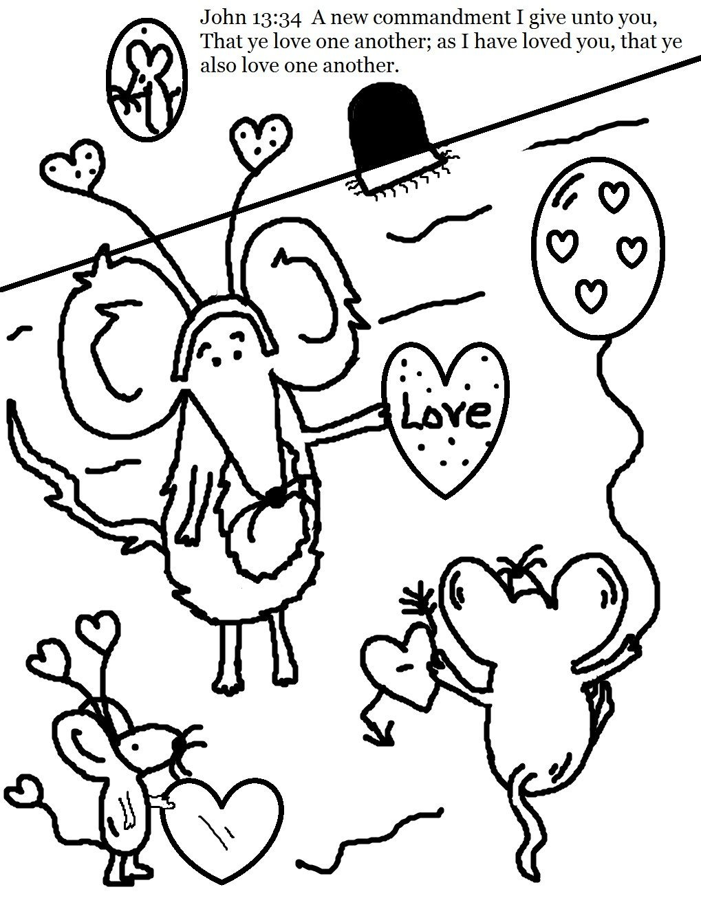 Valentine Mice John 13:34 coloring page. | Valentine\'s Day Stuff ...