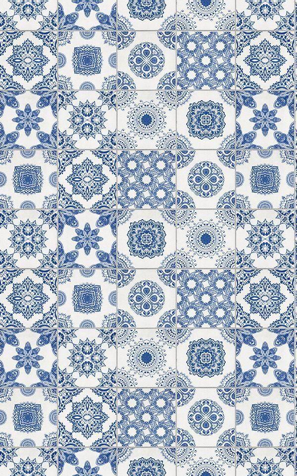 Blue and White Tile Wallpaper | MuralsWallpaper